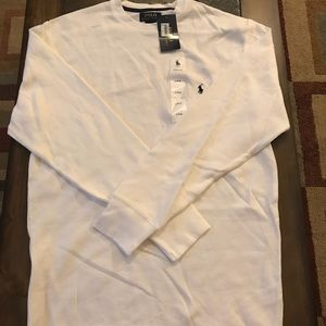 NEW men's white polo thermal- large